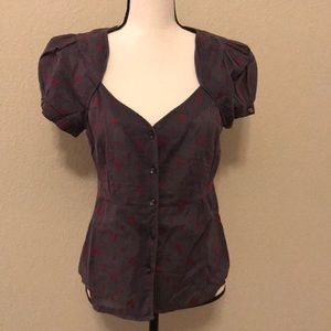 Tops - Gray Floral Blouse